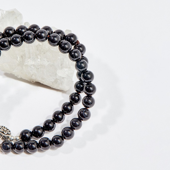 Vòng chuỗi hạt đeo tay 2 line đá obsidian phối charm 6mm mệnh thủy, mộc - Ngọc Quý Gemstones
