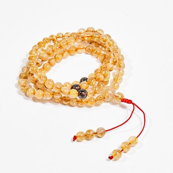 Chuỗi 108 hạt viên đá thạch anh tóc vàng 6mm mệnh thủy, kim - Ngọc Quý Gemstones