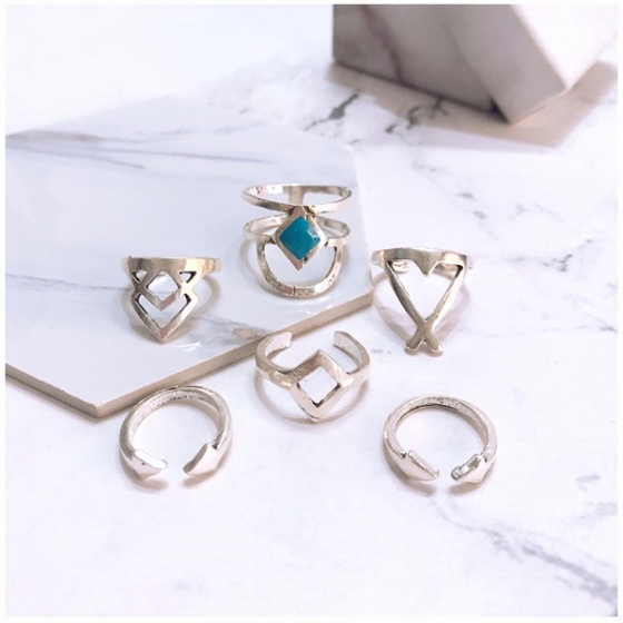 Set 6 nhẫn midi ring mix blue - Tatiana - NH2318