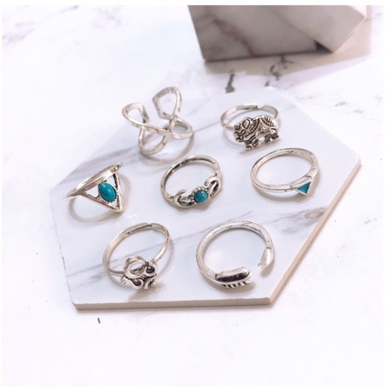 Set 7 nhẫn midi ring xblue - Tatiana - NH2319