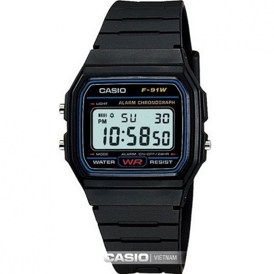 Đồng hồ Casio F-91W-1DG, sản Xuất tại Nhật Bản, phân phối chính thức bởi Casio LongTime Việt Nam