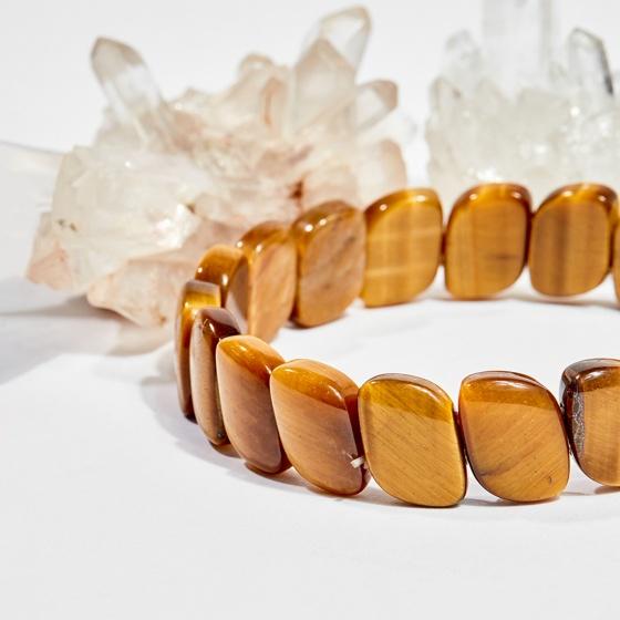 Vòng tay phong thủy đốt trúc đá mắt hổ vàng nâu 16x12mm mệnh thổ, kim - Ngọc Quý Gemstones