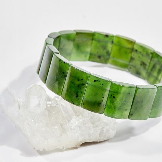 Vòng tay phong thủy bản đá ngọc bích 16x12mm mệnh hỏa, mộc - Ngọc Quý Gemstones