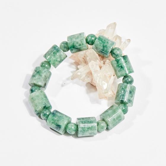 Vòng tay phong thủy đá cẩm thạch phỉ thúy đốt vuông 13x13mm mệnh hỏa, mộc - Ngọc Quý Gemstones