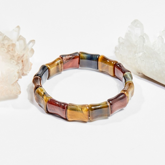Vòng tay phong thủy đốt trúc đá mắt hổ 16x12mm mệnh thổ, kim - Ngọc Quý Gemstones