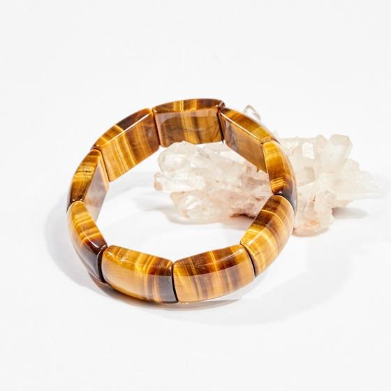 Vòng tay phong thủy đá mắt hổ vàng nâu 21x15mm mệnh thổ, kim - Ngọc Quý Gemstones