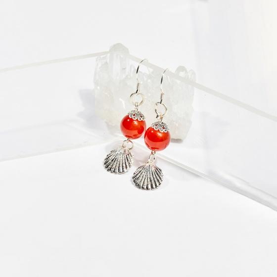 Bông tai đá mã não đỏ charm vỏ sò hạt 10mm mệnh hỏa, thổ - Ngọc Quý Gemstones