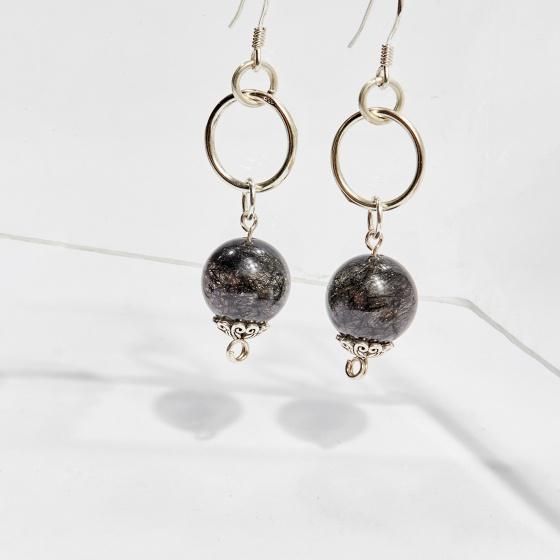 Bông tai đá thạch anh tóc đen hạt 10mm mệnh thủy, mộc - Ngọc Quý Gemstones
