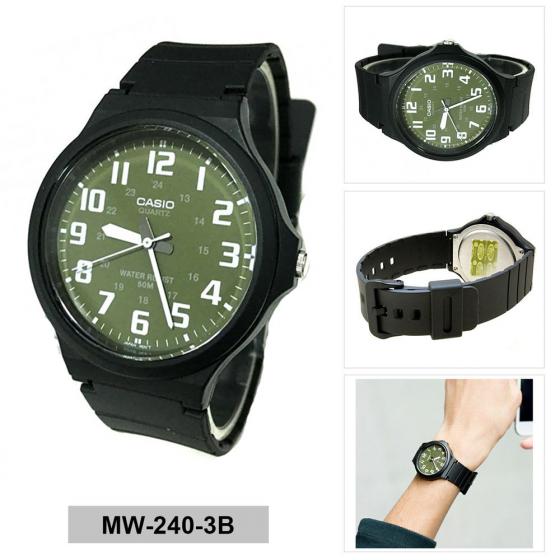 Đồng hồ nam nữ Casio MW-240-3BVDF, thương hiệu Casio Nhật Bản, phân phối chĩnh hãng bởi Casio LongTime Việt Nam