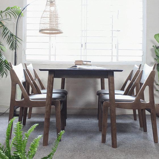 Bộ bàn ăn  6 ghế Osaka gỗ cao su màu walnut - Cozino
