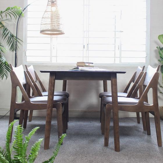 Bộ bàn ăn 4 ghế Osaka gỗ cao su màu walnut - Cozino