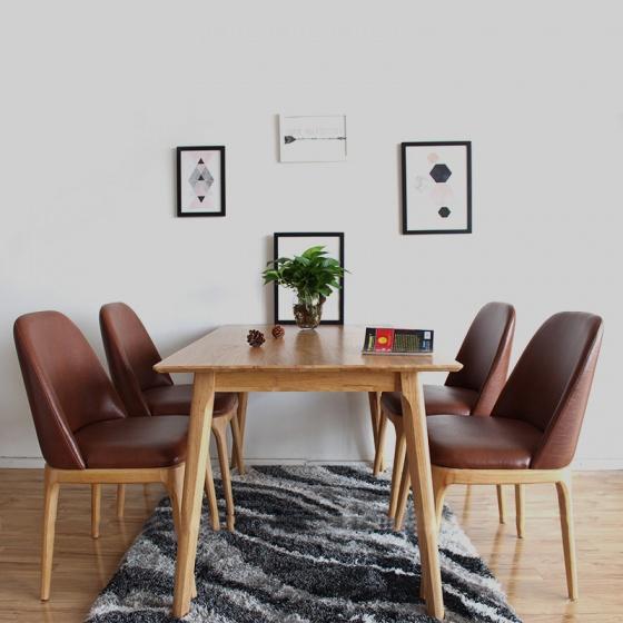 Bộ bàn ăn  4 ghế Grace không tay 1m4 màu tự nhiên - Cozino
