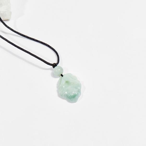 Dây chuyền phong thủy đá cẩm thạch phỉ thúy hoa đá 2.5cm mệnh hỏa, mộc - Ngọc Quý Gemstones