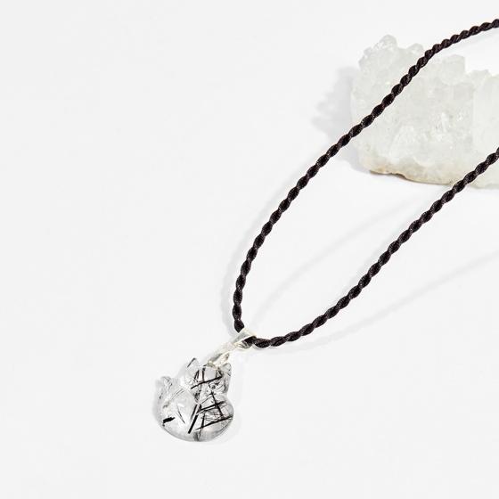 Dây chuyền phong thủy đá thạch anh tóc đen mặt hồ ly 9 đuôi 2cm mệnh thủy, mộc - Ngọc Quý Gemstones
