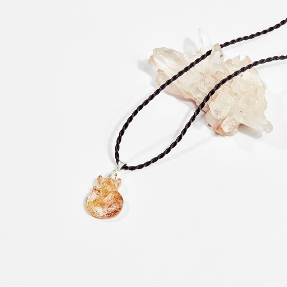 Dây chuyền phong thủy đá thạch anh tóc vàng mặt hồ ly 9 đuôi 2cm mệnh thủy, kim - Ngọc Quý Gemstones