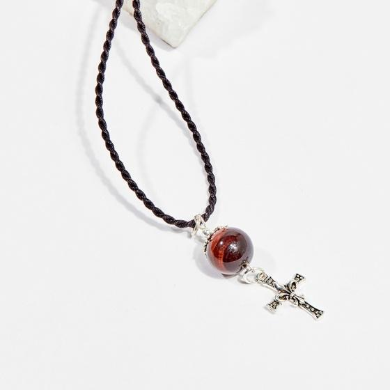 Dây chuyền phong thủy đá mắt hổ đỏ tròn 1.4cm mệnh hỏa, thổ - Ngọc Quý Gemstones
