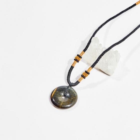 Dây chuyền phong thủy đá mắt hổ xanh đen mặt đồng điếu 3cm mệnh thủy, mộc - Ngọc Quý Gemstones