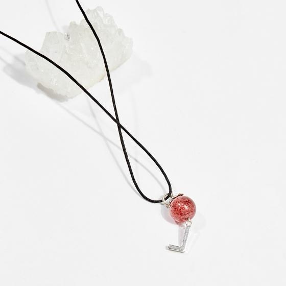 Dây chuyền phong thủy đá thạch anh dâu 1.3cm mệnh hỏa, thổ - Ngọc Quý Gemstones