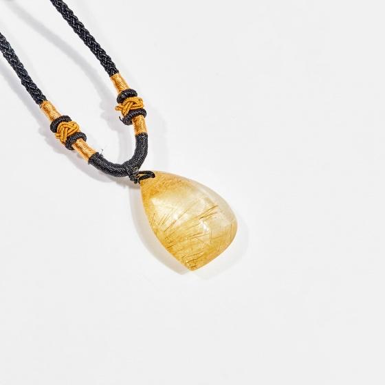 Dây chuyền phong thủy đá thạch anh tóc vàng giọt nước 3cm mệnh thủy, kim - Ngọc Quý Gemstones