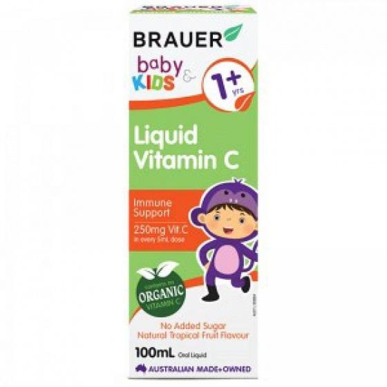 Siro cung cấp Vitamin C cho bé trên 1 tuổi 100ml  Brauer Baby Kids Liquid Vitamin C cho bé trên 1 tuổi 100ml