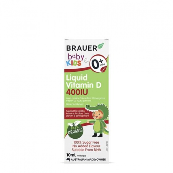 Siro dành cho trẻ sơ sinh trở lên (10ml)- Brauer Kids Liquid Vitamin D 400IU Úc dành cho trẻ sơ sinh trở lên (10ml)