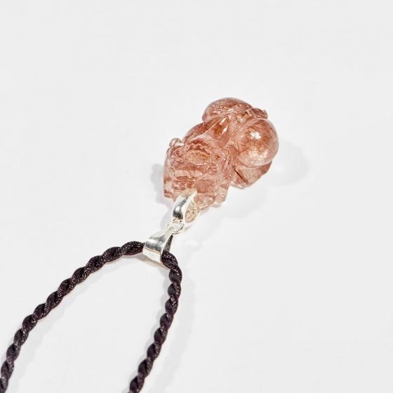 Dây chuyền phong thủy đá thạch anh tóc đỏ tỳ hưu 2.1cm mệnh hỏa, thổ - Ngọc Quý Gemstones