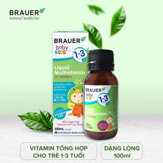 Siro của Úc dành cho trẻ từ 1 - 3 tuổi (100ml) - Brauer Baby & Kids Liquid Multivitamin