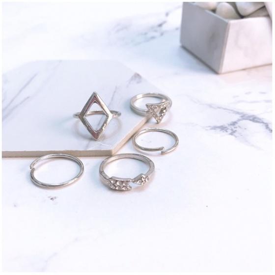 Set 5 nhẫn midi ring đơn giản - Tatiana - Nh2075