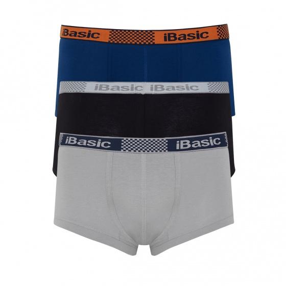 Combo 3 quần lót nam boxer brief iBasic VM025 (đen, xám, xanh)