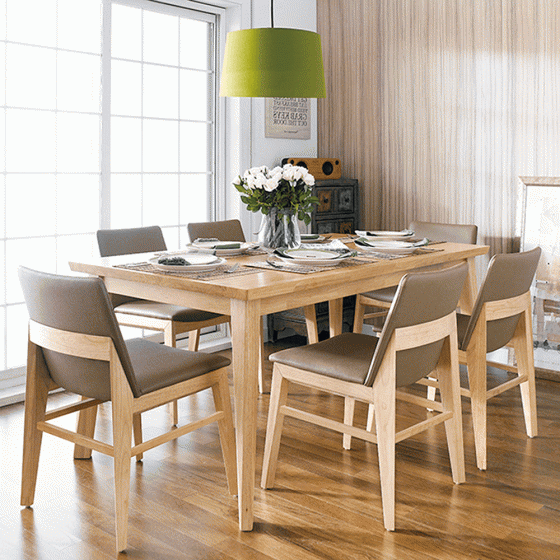 Bộ bàn ăn 6 ghế Kudo gỗ cao su màu tự nhiên - Cozino