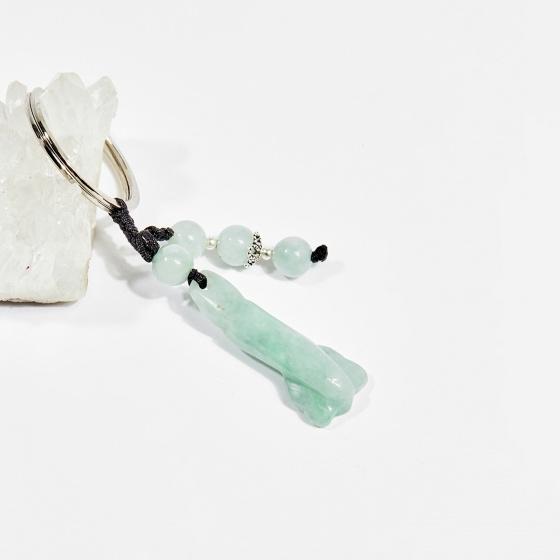 Móc khóa phong thủy đá cẩm thạch phỉ thúy gậy như ý 5cm mệnh hỏa, mộc - Ngọc Quý Gemstones