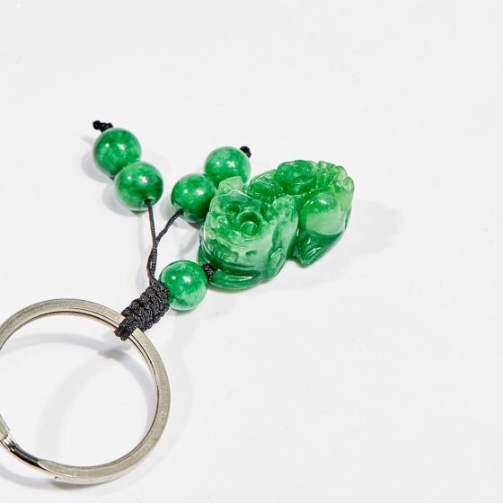 Móc khóa phong thủy đá cẩm thạch tỳ hưu 2.5 cm mệnh hỏa, mộc - Ngọc Quý Gemstones