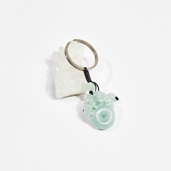 Móc khóa phong thủy đá cẩm thạch phỉ thúy tỳ hưu cưỡi châu 2cm mệnh hỏa, mộc - Ngọc Quý Gemstones