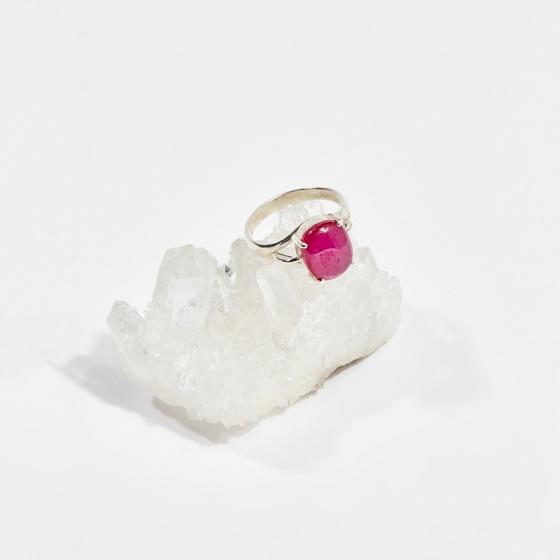 Nhẫn bạc đá ruby oval (ni16 - ni18) mệnh hỏa, thổ - Ngọc Quý Gemstones