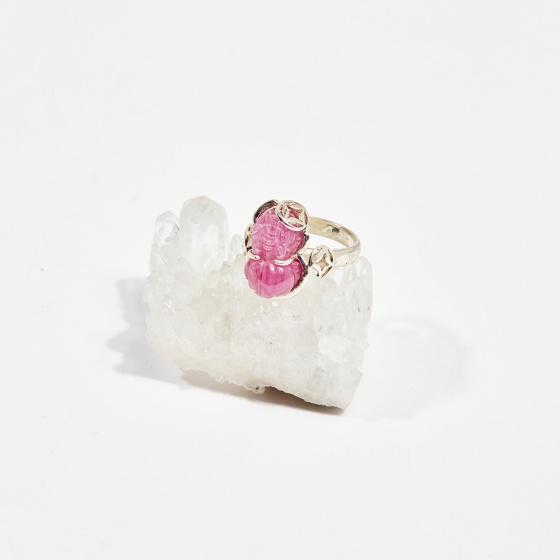 Nhẫn bạc tỳ hưu đá ruby (ni16 - ni18) mệnh hỏa, thổ - Ngọc Quý Gemstones