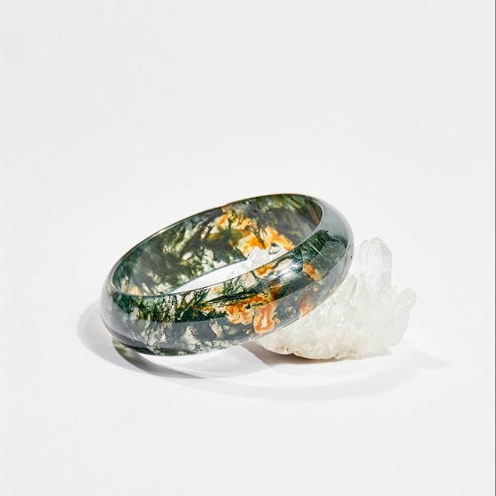 Vòng tay phong thủy đá băng ngọc thủy tảo 5.3cm mệnh hỏa, mộc, thổ - Ngọc Quý Gemstones