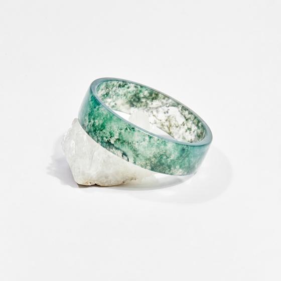 Vòng tay phong thủy đá thiên nhiên băng ngọc thủy tảo 5.3cm mệnh hỏa, mộc, thổ - Ngọc Quý Gemstones