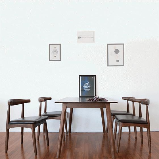 Bộ bàn ăn 4 ghế Bull gỗ cao su màu walnut - Cozino