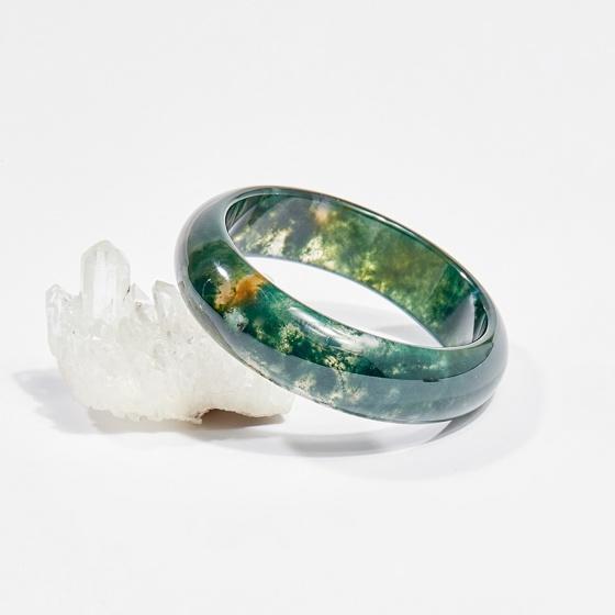 Vòng tay phong thủy đá băng ngọc thủy tảo 5.4cm mệnh hỏa, mộc, thổ - Ngọc Quý Gemstones