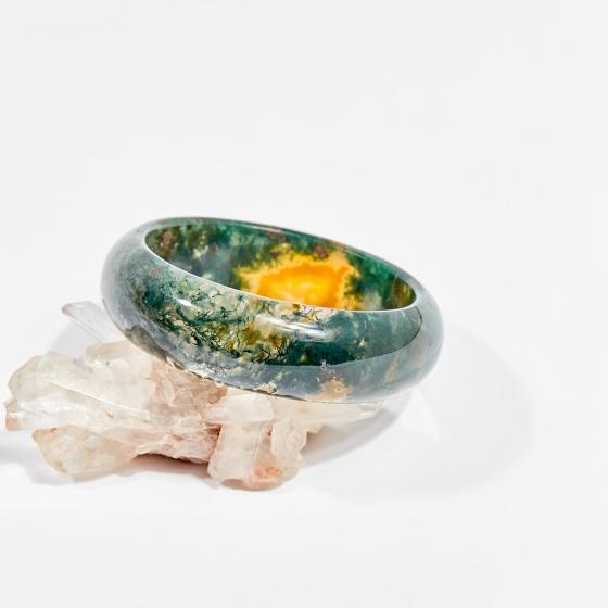 Vòng tay phong thủy đá băng ngọc thủy tảo 5cm mệnh hỏa, mộc, thổ - Ngọc Quý Gemstones