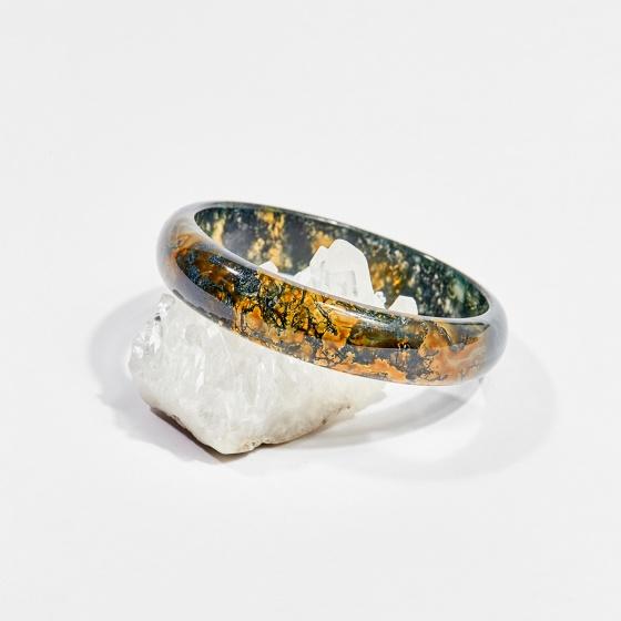 Vòng tay phong thủy đá thiên nhiên băng ngọc thủy tảo huyết 5.5cm mệnh hỏa, mộc, thổ - Ngọc Quý Gemstones