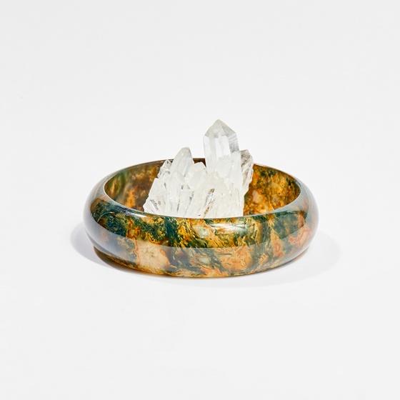 Vòng tay phong thủy đá băng ngọc thủy tảo huyết thiên nhiên 5.5cm mệnh hỏa, mộc, thổ - Ngọc Quý Gemstones