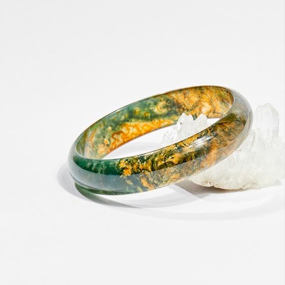 Vòng tay phong thủy đá băng ngọc thủy tảo huyết 6.3cm mệnh hỏa, mộc, thổ - Ngọc Quý Gemstones