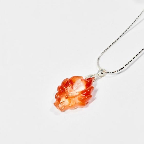 Dây chuyền phong thủy đá thạch anh ưu linh cam nữ hoàng hồ ly (tặng dây bạc) mệnh hỏa, thổ - Ngọc Quý Gemstones