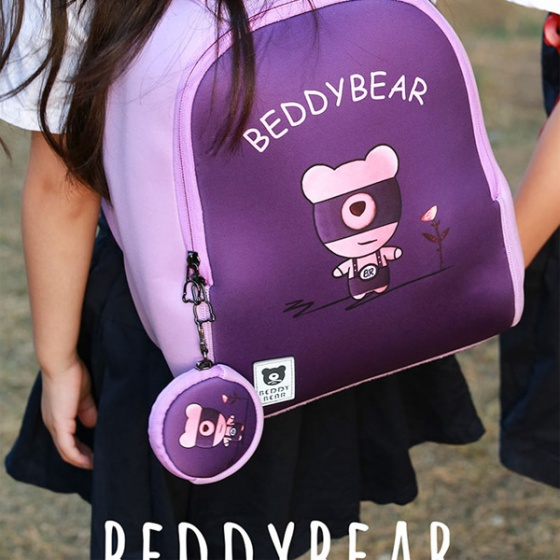 Balo BeddyBear Superman-tím- họa tiết con gấu