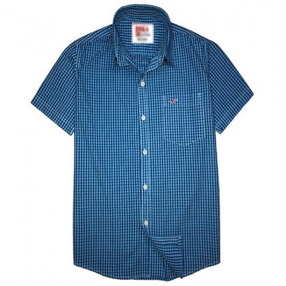 Áo sơ mi nam ngắn tay thêu logo sắc xảo, 65% cotton - SN02
