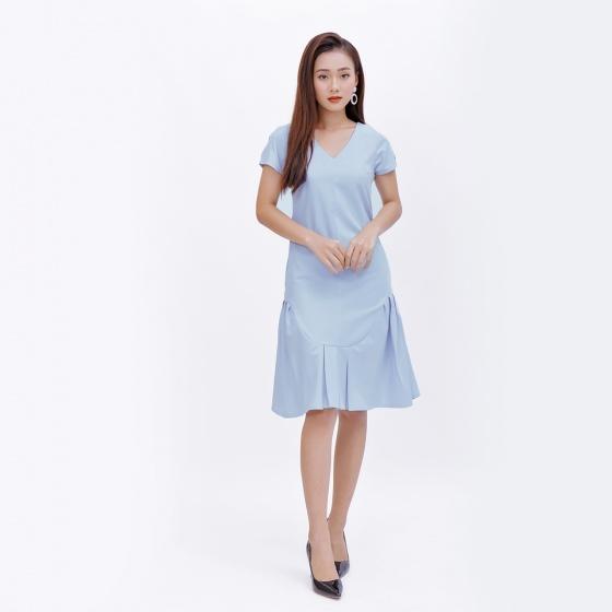 Đầm suông thời trang Eden cổ tim đuôi cá màu xanh - D372