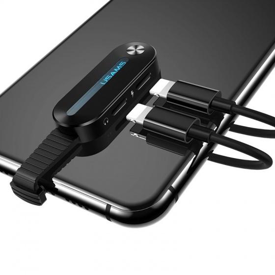 Bộ chuyển đổi tích hợp chuyển đổi âm thanh, vừa sạc chơi game kèm đèn LED Lightning USAMS AU08 US-SJ355