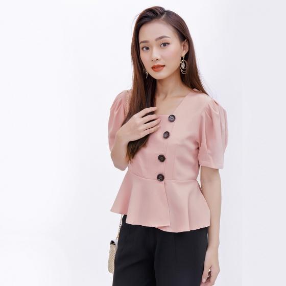 Áo peplum công sở thời trang Eden màu hồng - ASM044