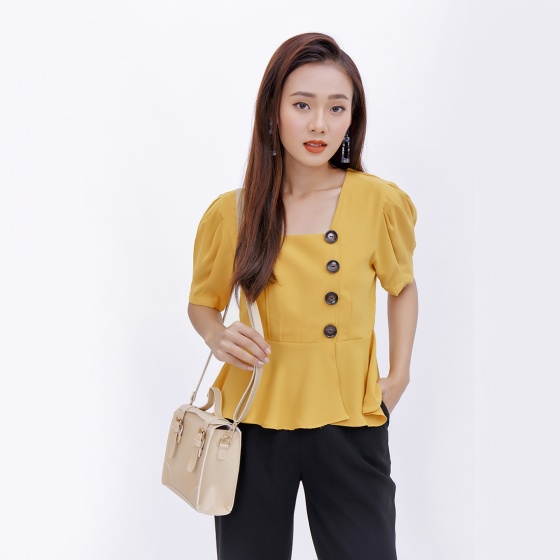 Áo peplum công sở thời trang Eden màu vàng - ASM044